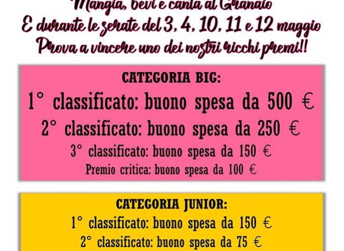 """Il concorso canoro """"La Spiga d'Oro"""", giunto alla 13° edizione, si svolgerà durante le serate del 3, 4,10, 11 e 12 maggio 2019 presso il ristorante Il Granaio."""