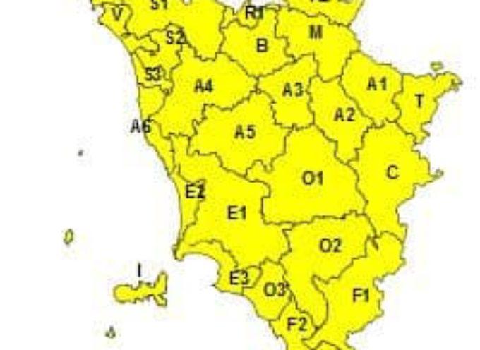 allerta meteo codice giallo   per la Toscana per domani 4 aprile