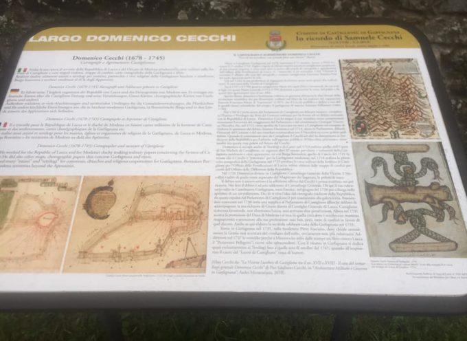 pannello informativo su Domenico Cecchi nel luogo che prende il suo nome a Castiglione di Garfagnana,