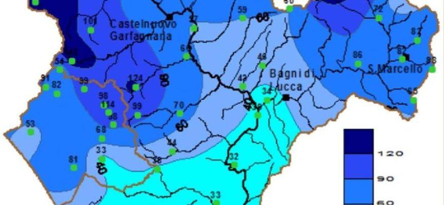 Totali di pioggia caduti sul bacino Serchio in 48h