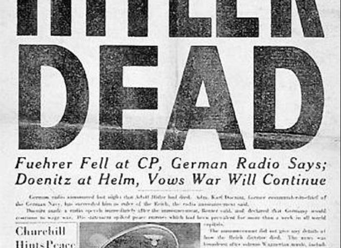 ACCADDE OGGI – 30 aprile 1945. Adolf Hitler ed Eva Braun, sposati da meno di un giorno, si suicidano fuori dal bunker sotterraneo del Führer
