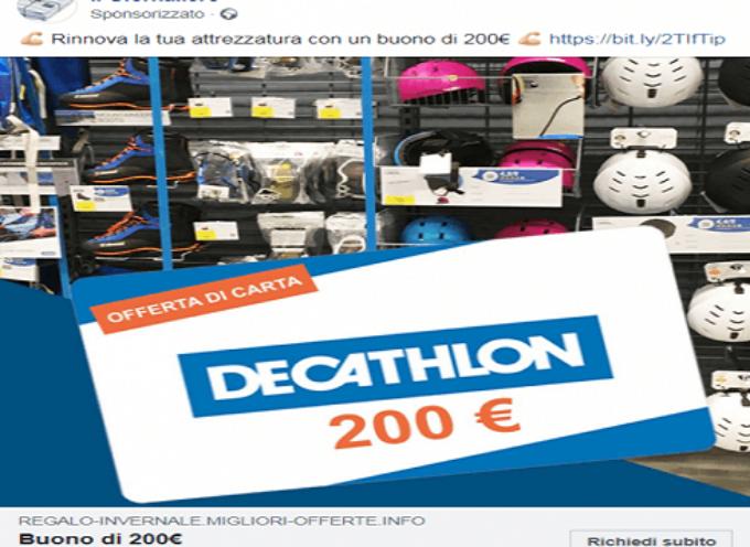 """Truffe online a gogo con falsi buoni """"Decathlon"""". Social inondati da finte promesse per """"fortunati"""" utenti."""