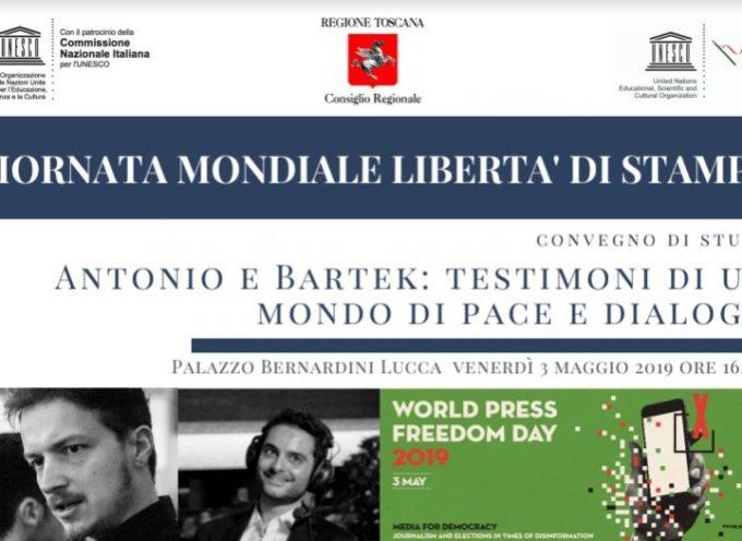 """Giornata mondiale libertà di stampa: a Lucca il convegno """"Antonio e Bartek testimoni di un mondo di pace e dialogo"""""""