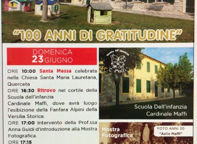"""Festa alla Scuola """"Cardinale Maffi"""" Querceta, il 23 giugno prossimo – Cento anni di gratitudine."""