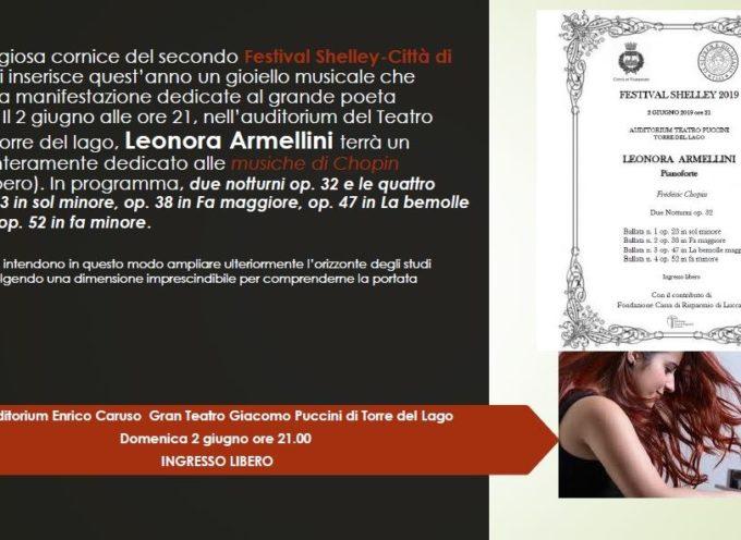 LEONORA ARMELLINI IN CONCERTO: QUESTA SERA, DOMENICA 2 GIUGNO, ALLE 21, ALL'AUDITORIUM PUCCINI DI TORRE DEL LAGO