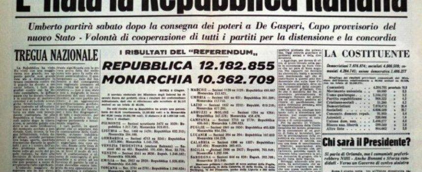 Oggi è il compleanno della Repubblica italiana.