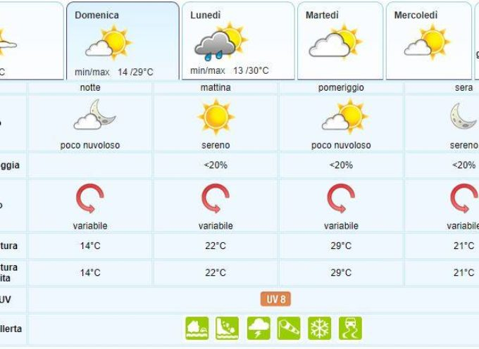 il Meteo del Lamma Toscana; aggiornamento 15 giugno