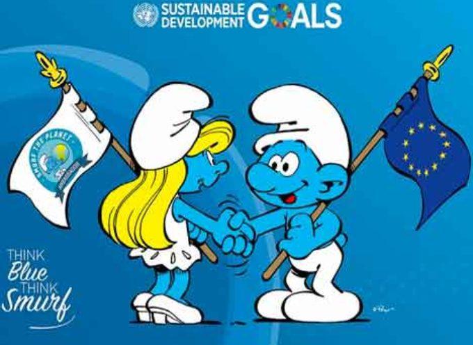 Unione Europea e Puffi collaborano per proteggere l'oceano