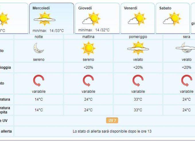 Meteo del LAMMA Toscana; aggiornamento al 2 luglio