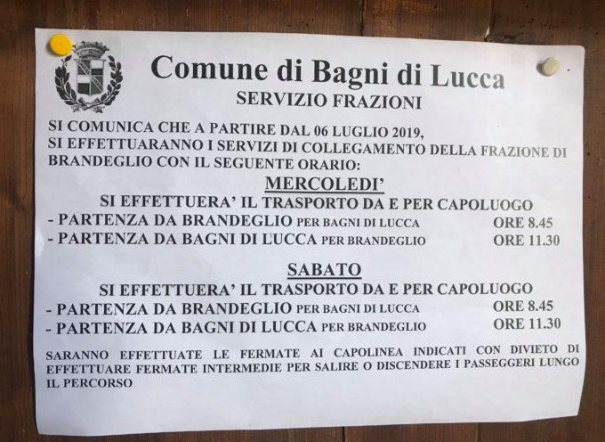 BAGNI DI LUCCA – IL SERVIZIO TRASPORTI  E' STATO CORRETTO L'AVVISO