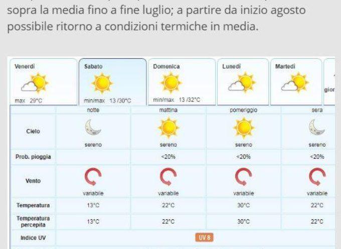 Meteo del LAMMA Toscana; aggiornamento al 19 luglio