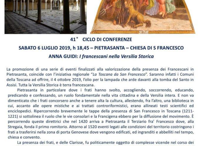"""Istituto Storico Lucchese – Sezione Versilia Storica: Sabato 6 luglio,""""I Francescani nella Versilia Storica""""."""