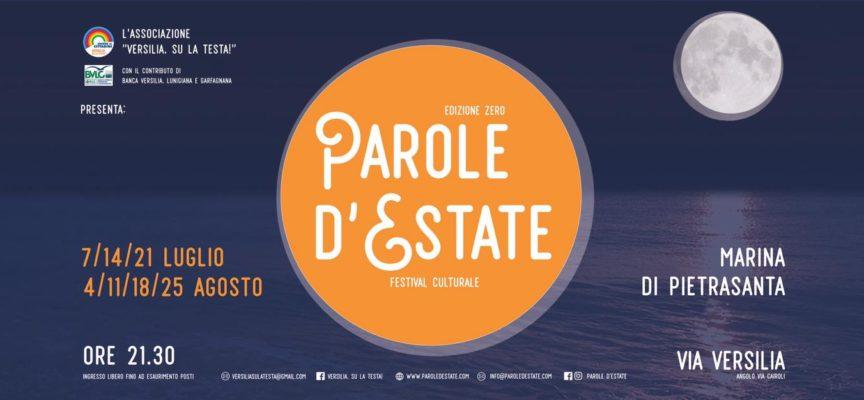 """a Marina di Pietrasanta, località Tonfano. secondo incontro festival culturale """"Parole d'Estate""""."""