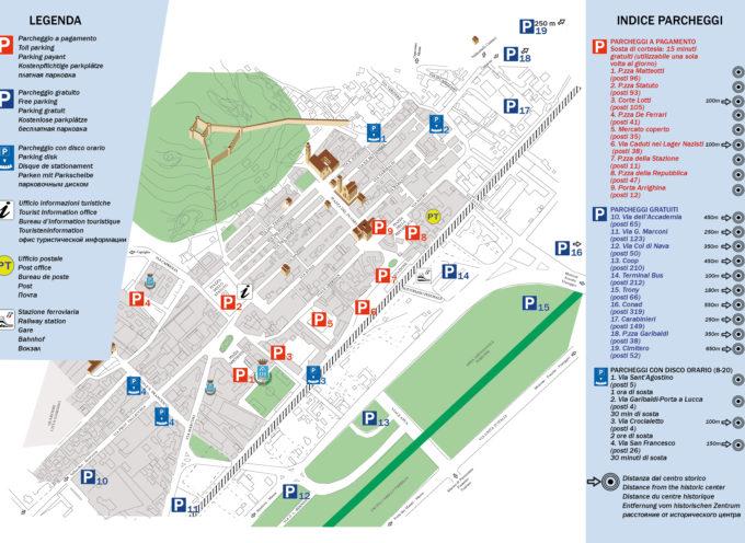Viabilità: pronta la mappa dei parcheggi, 1801 stalli a due passi dal centro storio – Comune di Pietrasanta