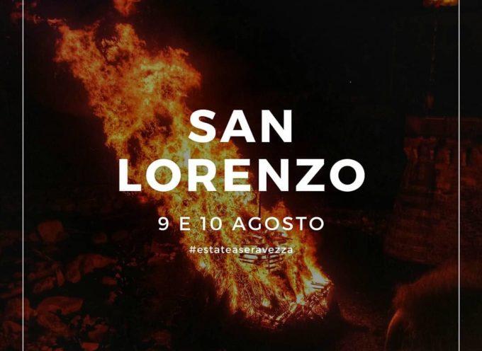 San Lorenzo a Seravezza con la suggestiva focata, i banchetti, i tordelli, la tombolata e, per concludere, Coro Gospel e fuochi d'artificio!