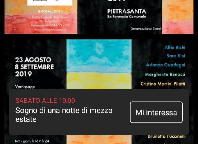 """Seravezziana Eventi a Pietrasanta, Ex Farmacia Comunale – """"Sogno di una notte di mezza estate"""", emozioni contemporanee di artisti."""