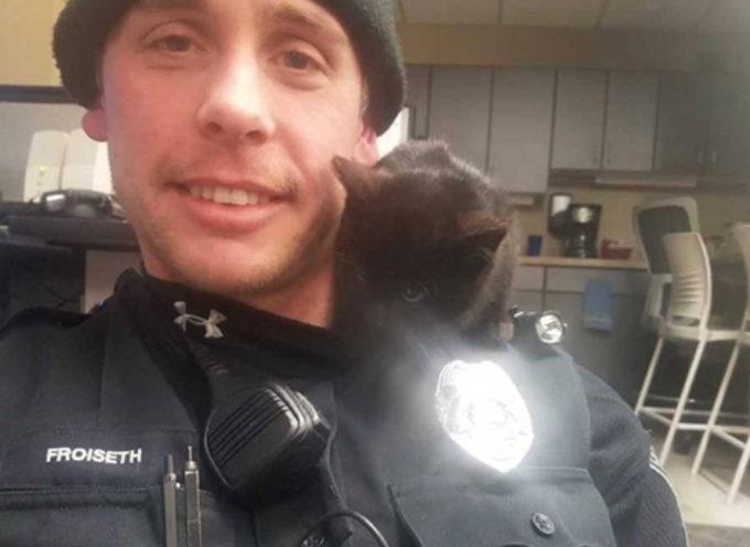 La polizia salva un gattino nero intrappolato nella neve e non riesce più a liberarsene