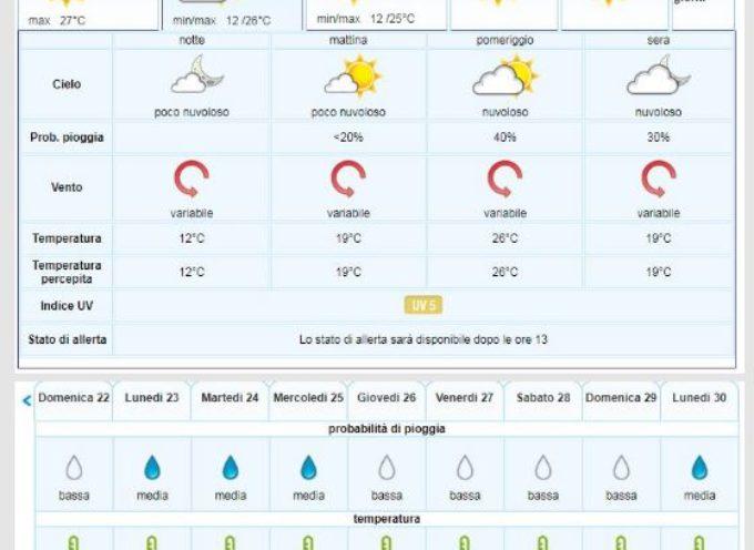 il Meteo del LAMMA Toscana per la Valle del Serchio emesse martedì 17 settembre