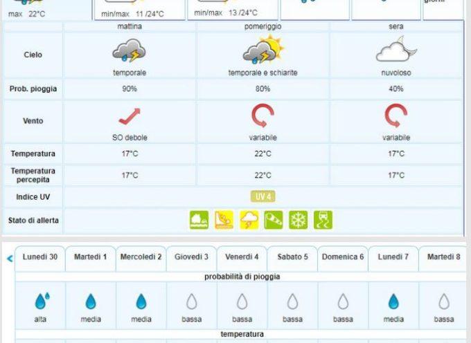 Previsioni Meteo del LAMMA Toscana per la Valle del Serchio emesse mercoledì 25 settembre