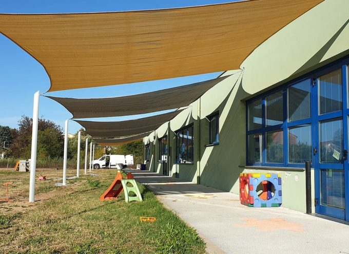 Realizzato un sistema di ombreggianti alla scuola dell'infanzia di Lunata