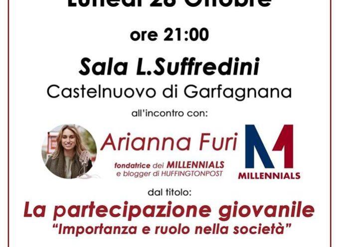 la Consulta dei Giovani di Castelnuovo di Garfagnana invita a partecipare all'incontro con Arianna Furi,