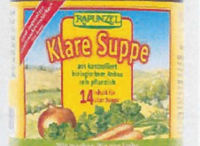 """Presenza di frammenti di vetro nei vasetti """"Brodo vegetale in polvere – Rapunzel Klare Suppe"""""""