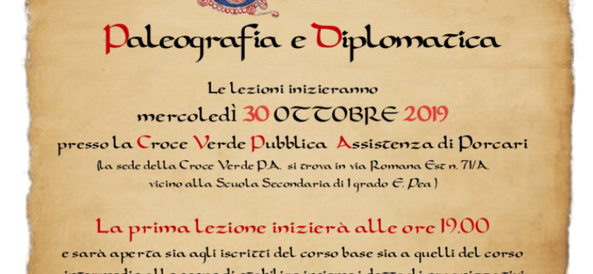 PORCARI – Alla biblioteca comunale le iscrizioni ai corsi di Paleografia e Diplomatica