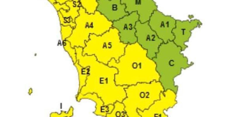 codice giallo per forti temporali   per domani 2 novembre