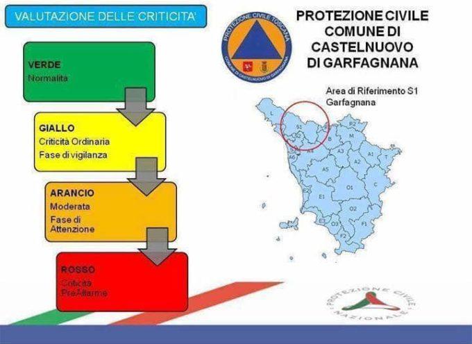 EMESSO CODIGE GIALLO PER LA VALLE DEL SERCHIO E GARFAGNANA