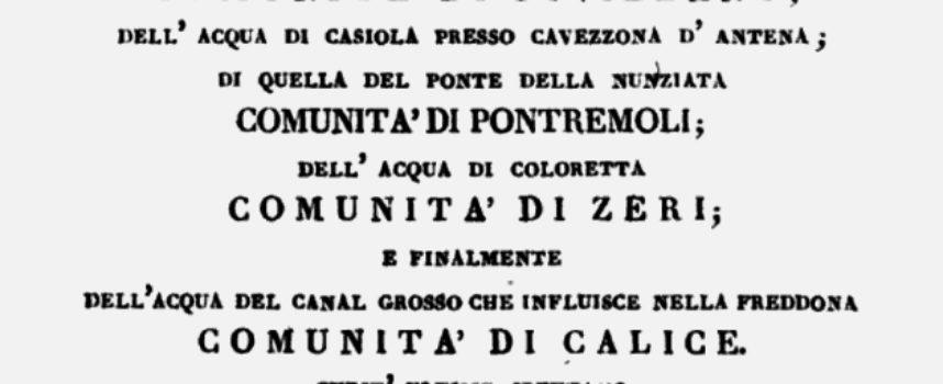 Seravezza, cenni storici – L'acqua ferro-sulfurea di Pancola