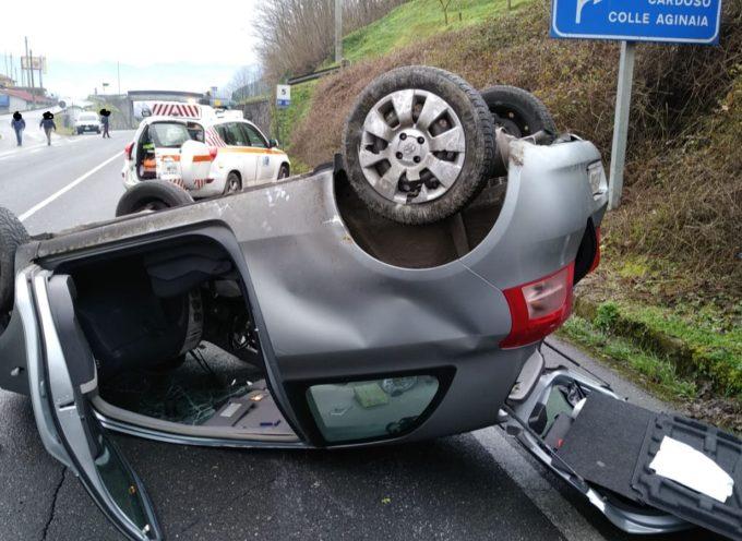 Incidente sulla Fondovalle – auto cappottata