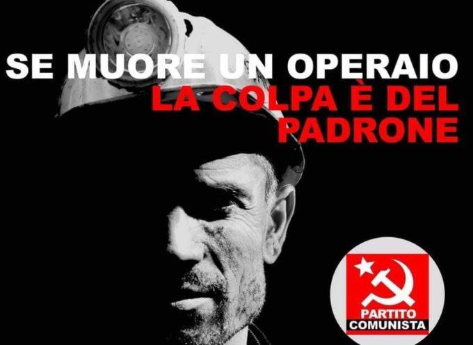 Il Partito Comunista interviene sull'operaio morto sul lavoro