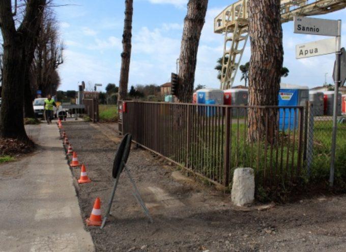 in sicurezza tratto dissestato via Sannio-pista ciclabile viale Apua, in corso intervento