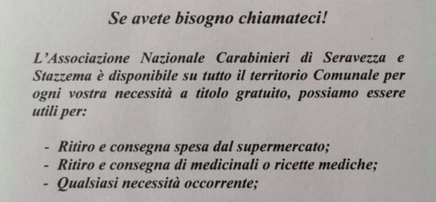 """Appello Associazione Carabinieri di Seravezza e Stazzema: """"Restate a casa! Ci mettiamo a disposizione della cittadinanza!""""."""