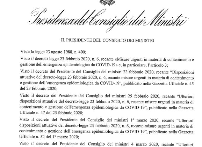 NUOVO DECRETO DEL GOVERNO: MISURE DRASTICHE PER CONTENERE IL COVID 19