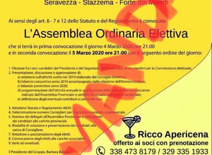 Giovedì 5 marzo – Rimandata a data da destinarsi l'Assemblea Ordinaria Elettiva AIDO