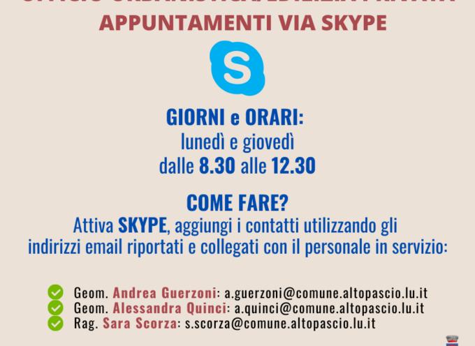 ALTOPASCIO – Ricevimenti via Skype o via telefono