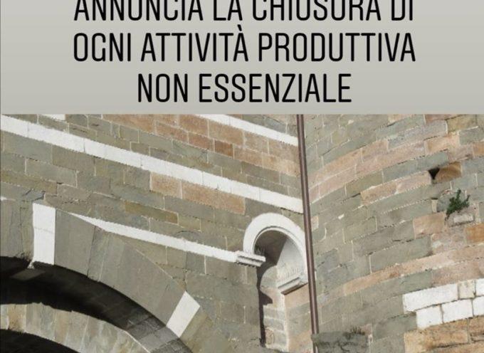 il Presidente del Consiglio dei Ministri Giuseppe Conte annuncia la chiusura di ogni attività non strettamente necessaria.