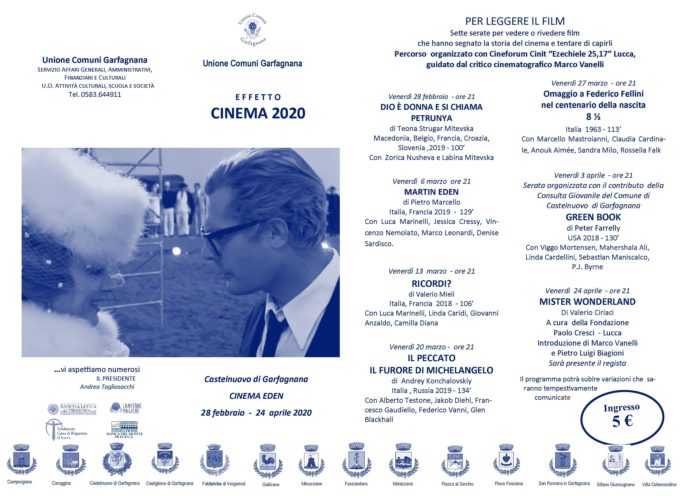 Effetto cinema – Proiezione film Martin Eden – Cinema Eden – ACastelnuovo di Garfagnana