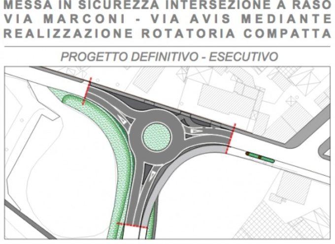 Viabilità: rotatoria compatta tra via Marconi-sottopasso Avis, dopo Pasquetta al via il cantiere