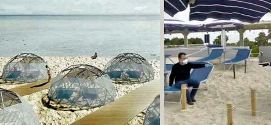 la prossima estate in spiaggia nelle cupole in bamboo e separati dalle corde: