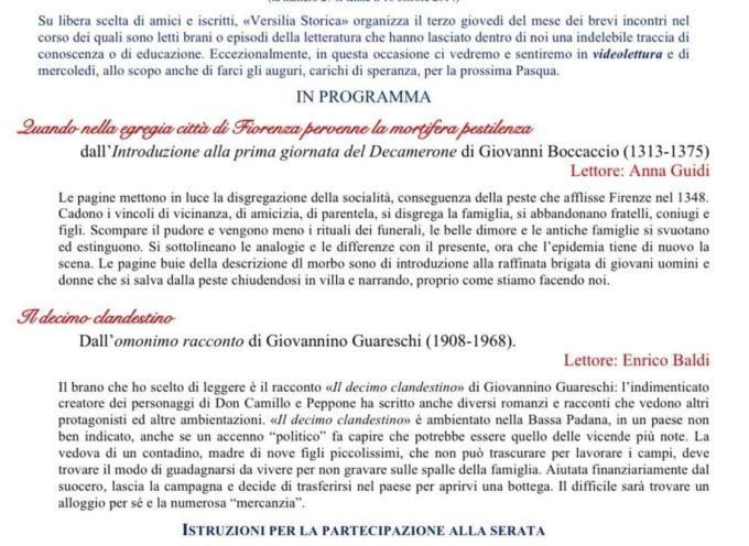 Versilia Storica dell'Istituto Storico Lucchese – Serata in videolettura. Le istruzioni per partecipare all'interno.