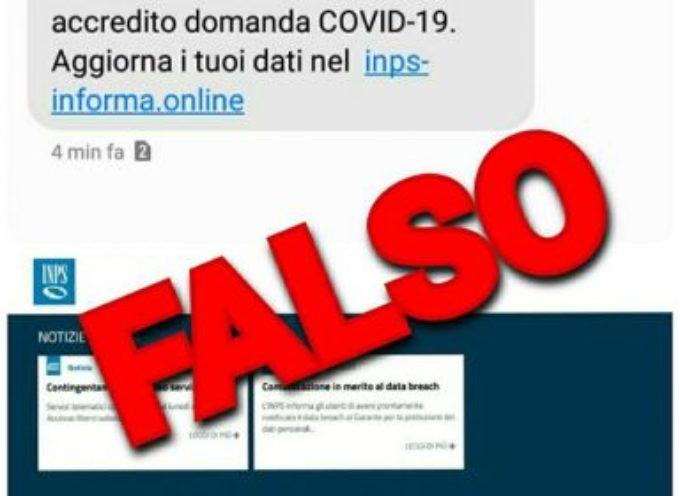 Coronavirus e INPS: falso sms che invita all'aggiornamento della domanda di bonus COVID-19.