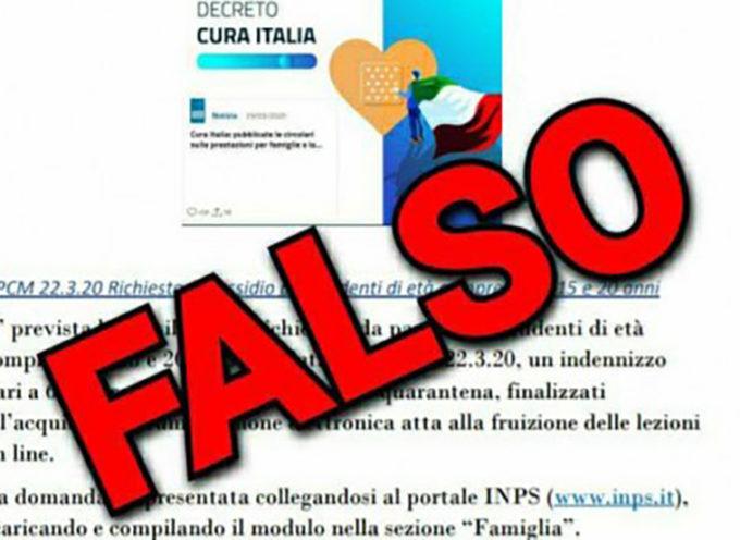 Coronavirus e INPS: falsa comunicazione di richiesta di sussidio per studenti di età compresa tra 15 e 20 anni.