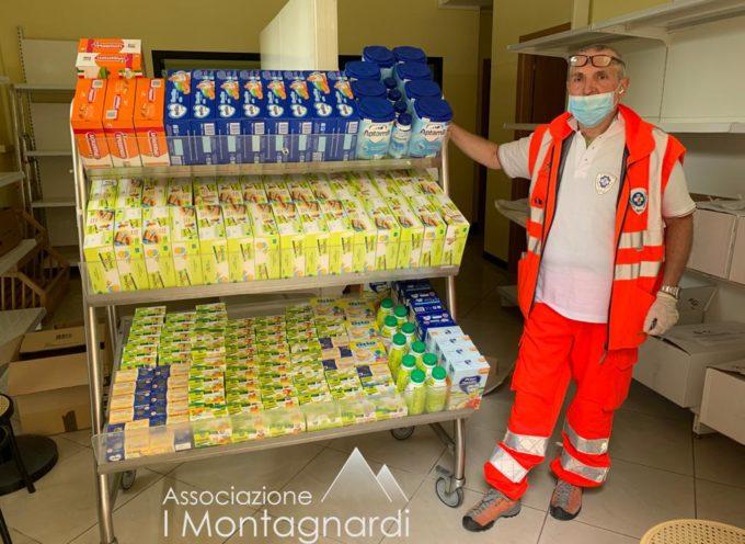 """Continuano gli aiuti alimentari per """"Aiutaci ad aiutare"""" Da """"I Montagnardi"""" generi alimentari per i bambini"""