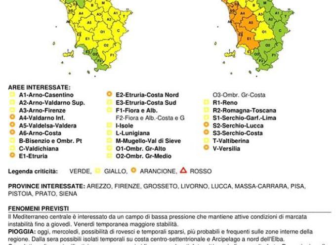 FINO A STASERA CODICE GIALLO POI CODICE ARANCIONE FINO A DOMANI ORE 13