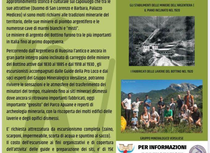 """LUNEDI' 10 AGOSTO, escursione a cura del GRUPPO MINERALOGICO PALEONTOLOGICO VERSILIESE """"Lungo le strade dei minatori dell'Argentiera verso le Miniere del Bottino"""""""