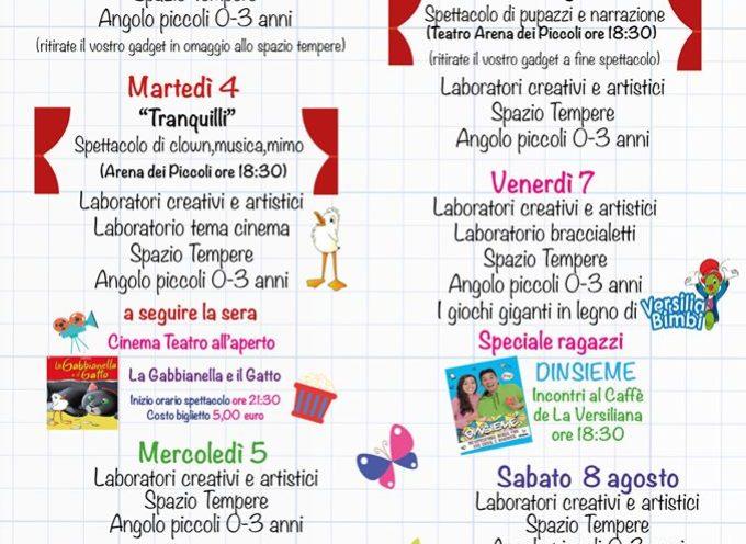 Il programma settimanale della Versiliana dei Piccoli dal 3 al 9 Agosto 2020.
