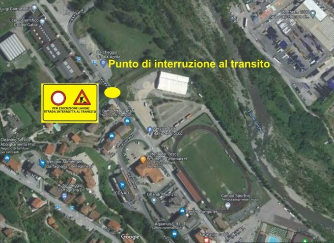 CASTELNUOVO DI GARFAGNANA – Impianti sportivi del Capoluogo, è stata disposta la chiusura di via XX Aprile