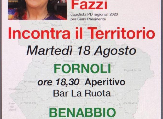 Francesca Fazzi, capolista del Partito Democratico per il rinnovo del Consiglio Regionale, inizia una serie di incontri con la popolazione del territorio.
